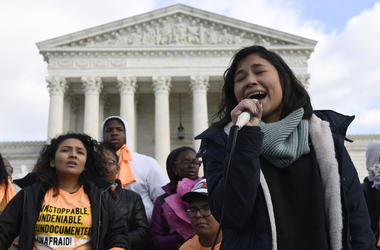 Michelle Lainez, 17, originally from El Salvador but now living in Gaithersburg, Md., speaks during a rally outside the Supreme Court in Washington, Friday, Nov. 8, 2019.