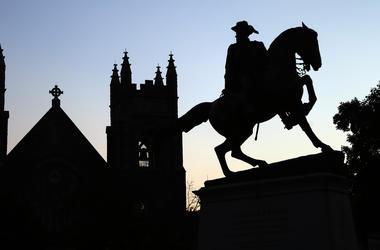 A statue of Confederate General J.E.B. Stuart stands on Monument Avenue in Richmond, Va.