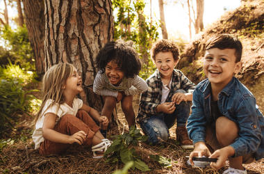 Children playing in nature.