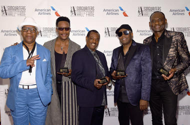 "Dennis Thomas, James ""JT"" Taylor, Robert ""Kool"" Bell, Ronald Bell, and George Brown of Kool & The Gang pose with their awards."
