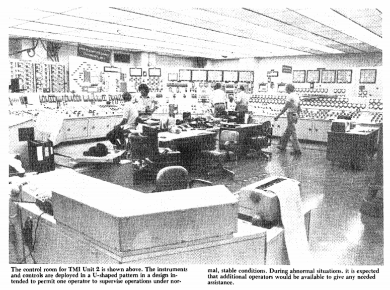 This image from the 1979 Nuclear Regulatory Commission Annual Report shows the control room for Three Mile Island Unit 2.
