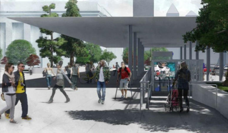 A rendering of the renovations set for 30th Street Station showcasing the new canopy and station entrance.