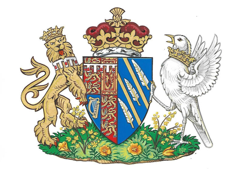 This generated image made available Friday, May 25, 2018 by Kensington Palace shows the newly created coat of arms of Meghan Duchess of Sussex.