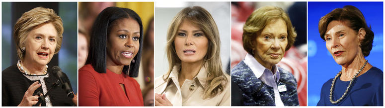 This combination photo shows, from left, Hillary Clinton, Michelle Obama, Melania Trump, Rosalynn Carter and Laura Bush, who have independently expressed their concern about migrant children being torn from parents at the Mexico border.