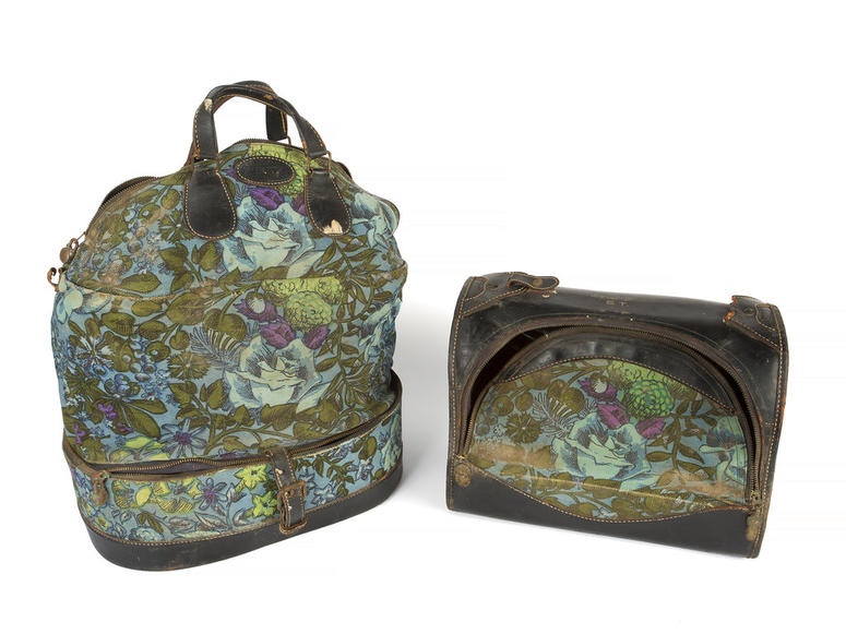 This combination photo shows two floral canvas and leather bags owned by the late actress Sharon Tate which will be auctioned November 17 in Los Angeles and online by Julien's Auctions.