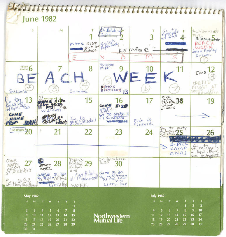 This image released by the Senate Judiciary Committee, Wednesday, Sept. 26, 2018 in Washington, shows Supreme Court nominee Judge Brett Kavanaugh's calendar, from the Summer of 1982.