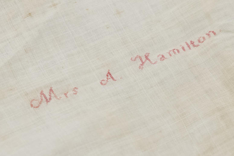 Shown is Alexander Hamilton's widow Elizabeth Hamilton's handkerchief embroidered with her name at the Museum of the American Revolution in Philadelphia, Monday, Nov. 12, 2018.