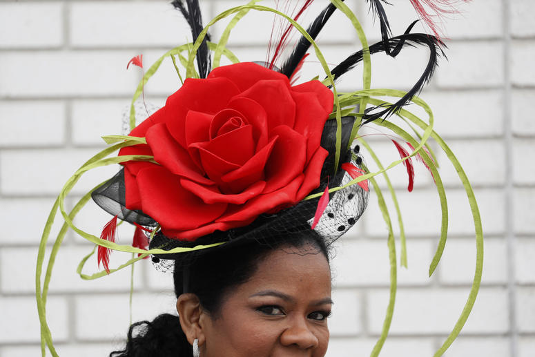A woman wears a hat during the 145th running of the Kentucky Derby horse race at Churchill Downs Saturday, May 4, 2019, in Louisville, Ky.