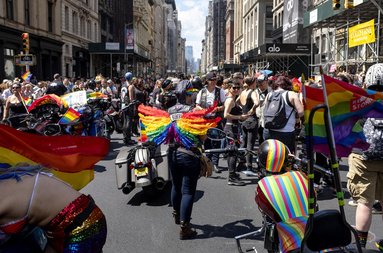 People line up to participate in the LBGTQ Pride march Sunday, June 30, 2019, in New York.