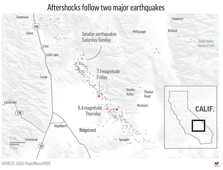 Scores of aftershocks have followed two major earthquakes have struck in Southern California;