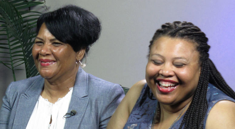 Alice Marie Johnson, left, and her daughter Katina Marie Scales wait to start a TV interview on Thursday, June 7, 2018 in Memphis, Tenn.