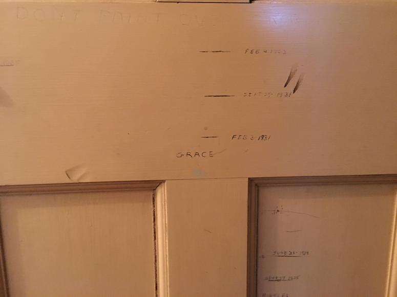 A growth chart still in the restored home of Grace Kelly