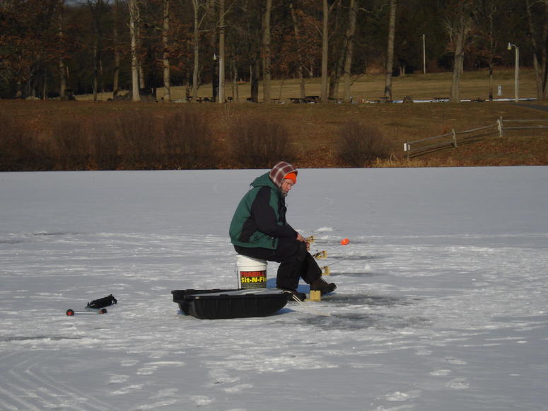Ice fishing at Deep Creek Lake on Green Lane Park in upper Montgomery County