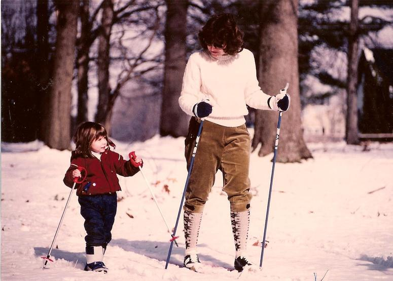 Jay Lloyd's wife and daughter cross-country skiing