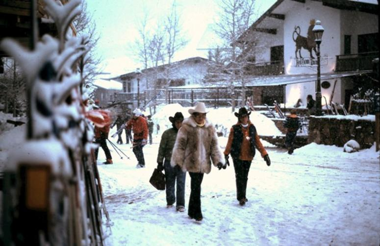 Visitors wearing Stetson hats in Vail