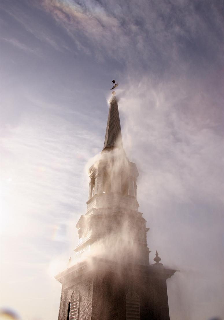 In the wake of the Notre Dame Cathedral fire, Christ Church in Old City tested its steeple's external sprinkler system.
