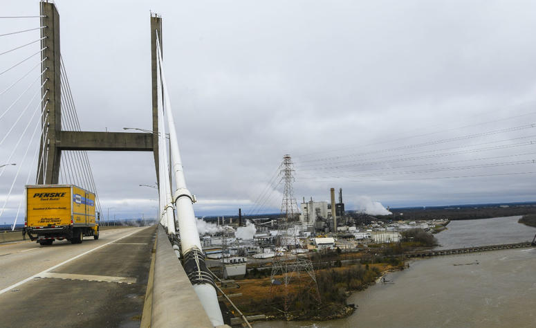 Industrial development occupies the Mobile Riverfront under the Cochrane-Africatown bridge near Mobile, Ala., on Tuesday, Jan. 29, 2019.
