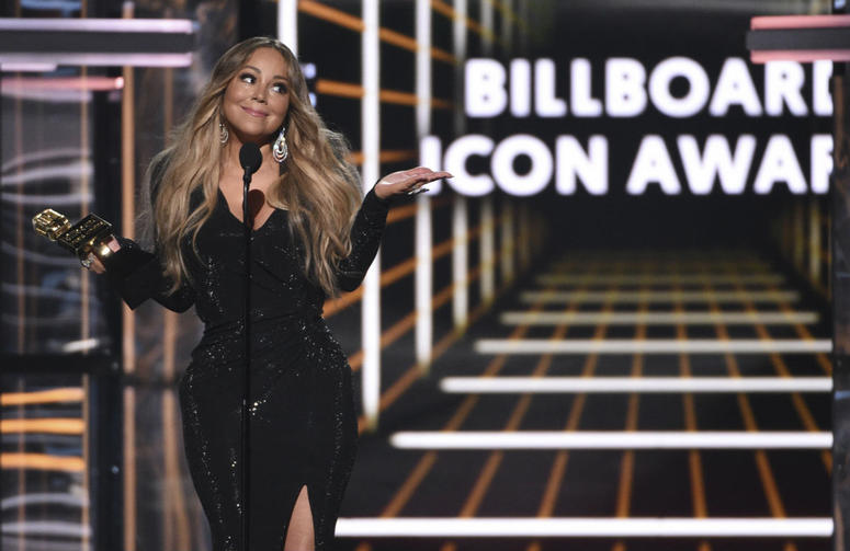Mariah Carey accepts the Icon award at the Billboard Music Awards on Wednesday, May 1, 2019, at the MGM Grand Garden Arena in Las Vegas.