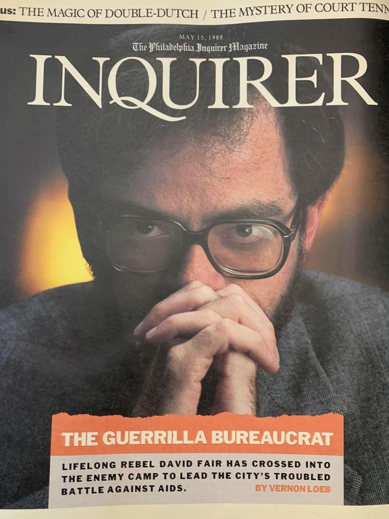 Cover of Philadelphia Inquirer Magazine featuring David Fair in 1988.
