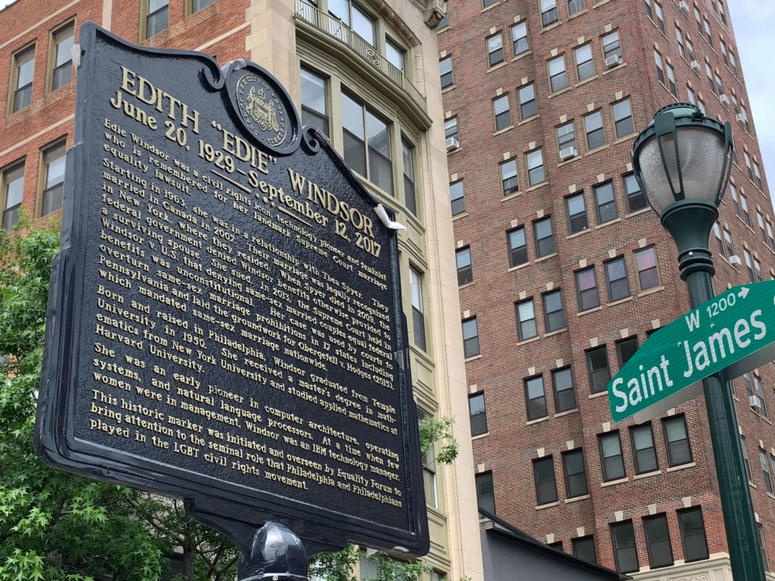 A historical marker is dedicated to Edith Windsor, at 11th and Saint James streets, in Philadelphia.