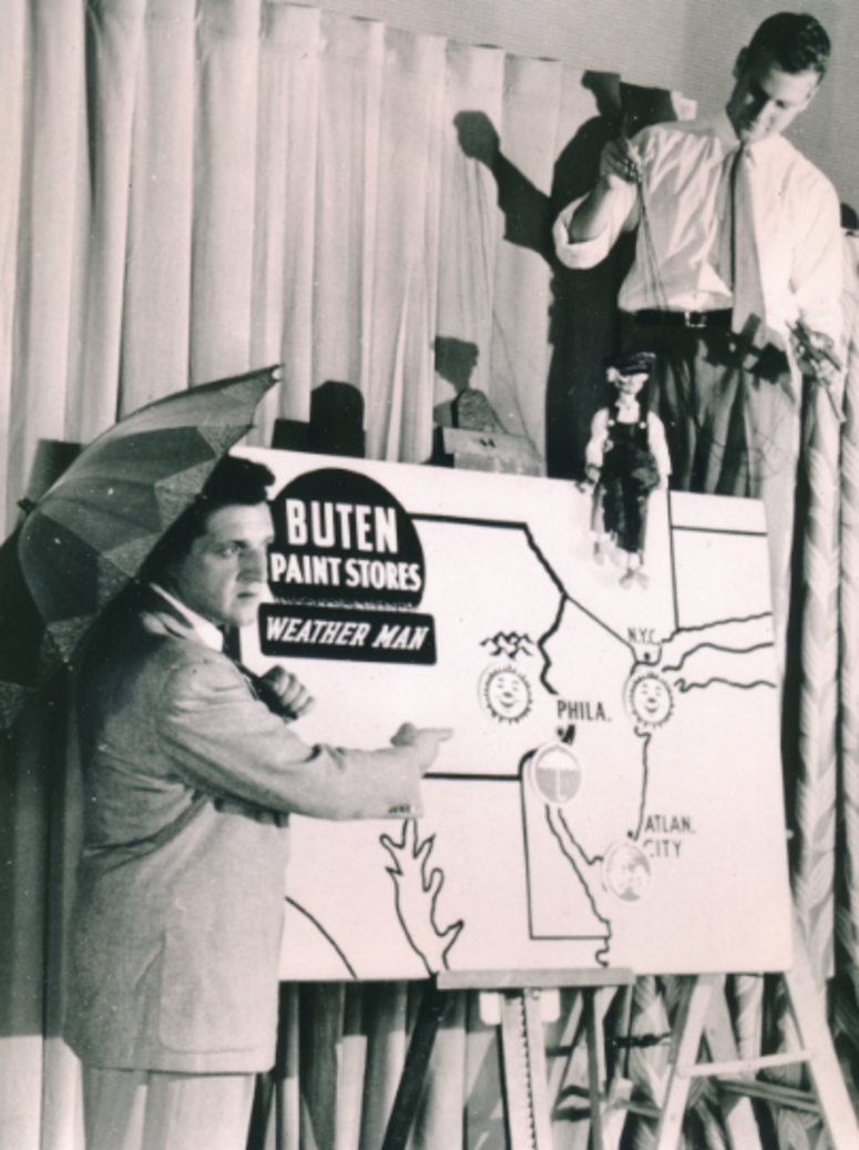 Lew Klein with marionette at his first job on a weather show in the 1940s.