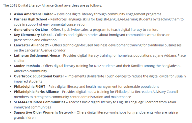 Digital Literacy Alliance grant winners 2018
