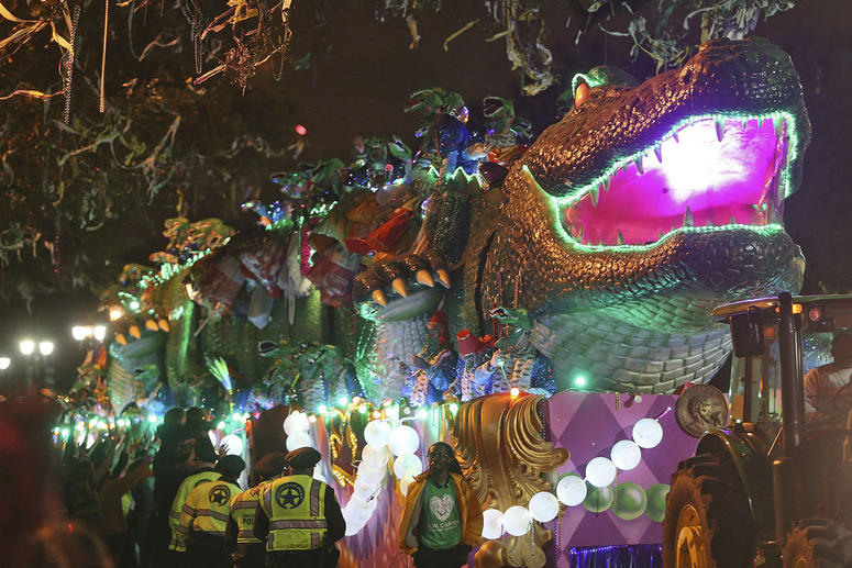"""The Bacchagator rolls down Napoleon Avenue as the 1,600 men of Bacchus present their 32-float Mardi Gras parade entitled """"Starring Louisiana"""" on the Uptown route in New Orleans on Sunday, March 3, 2019."""