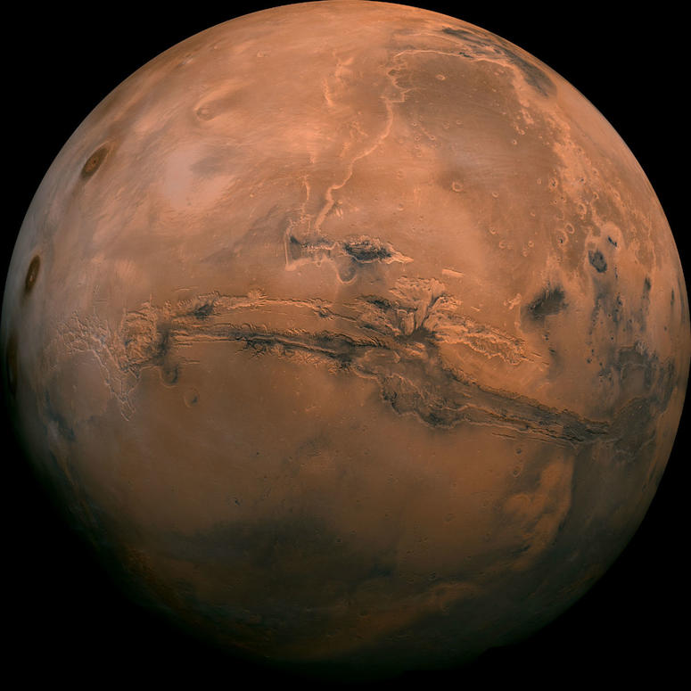 This image made available by NASA shows the planet Mars. This composite photo was created from over 100 images of Mars taken by Viking Orbiters in the 1970s.