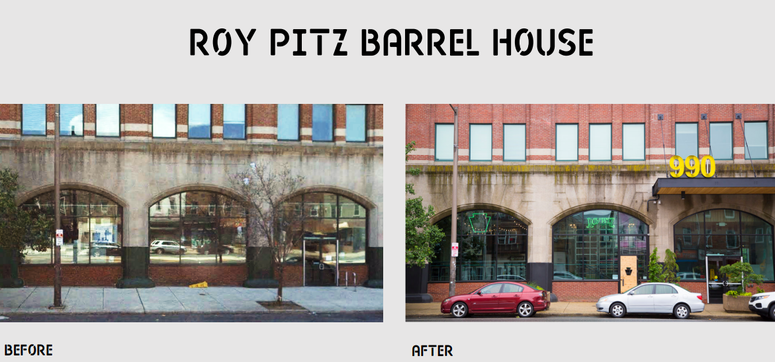 A before and after comparison of Roy Pitz Barrel House in the Spring Arts neighborhood.