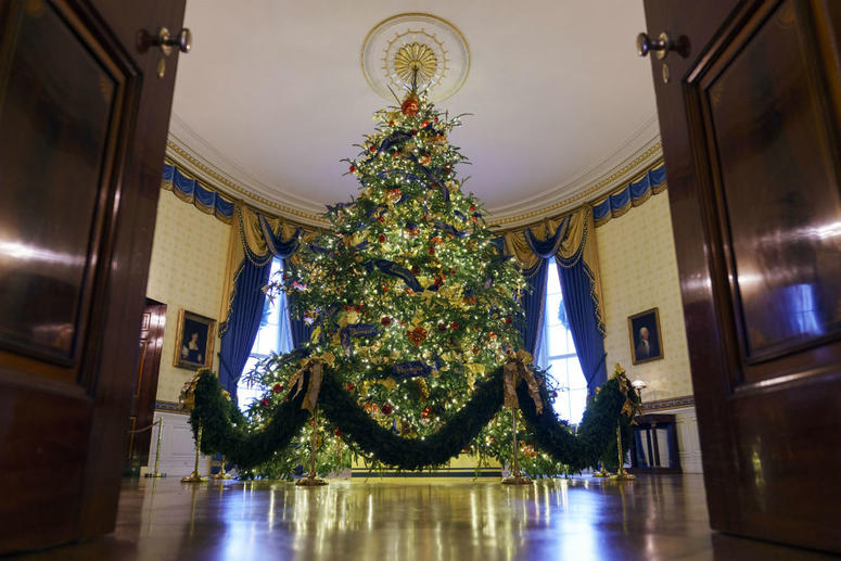 The official White House Christmas tree is seen in the Blue Room during the 2018 Christmas Press Preview at the White House in Washington, Monday, Nov. 26, 2018.