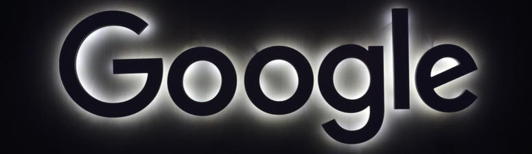 Google logo at a gadgets show in Paris