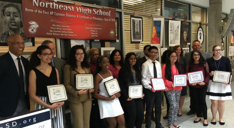 The School District of Philadelphia recognized the first nine graduates of  Northeast High School's two-year AP Capstone program.