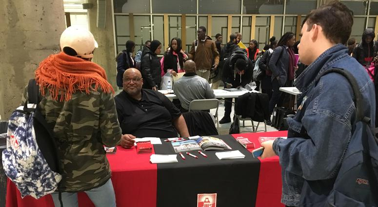 The college fair at the School District of Philadelphia's headquarters included representatives from the 14 colleges in the Pennsylvania State System of Higher Education.