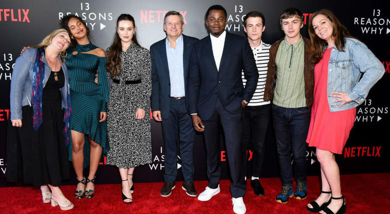 """Alisha Boe, Katherine Langford, Derek Luke, Dylan Minnette, Miles Heizer and producers attend #NETFLIXFYSEE Event For """"13 Reasons Why"""" Season 2 - Arrivals at Netflix FYSEE At Raleigh Studios on June 1, 2018 in Los Angeles, California."""