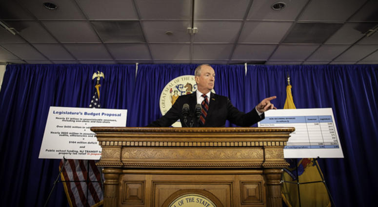 Gov. Phil Murphy hosts a press conference to discuss the budget.