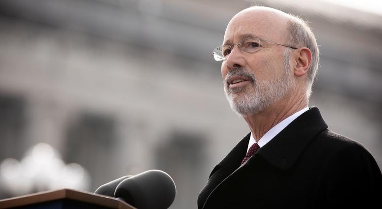 Gov. Tom Wolf speaks at his 2019 inauguration, Jan. 15, 2019, Harrisburg, Pennsylvania.