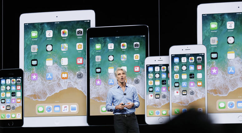 Craig Federighi, Apple's senior vice president of Software Engineering, speaks during an announcement of new products at the Apple Worldwide Developers Conference.