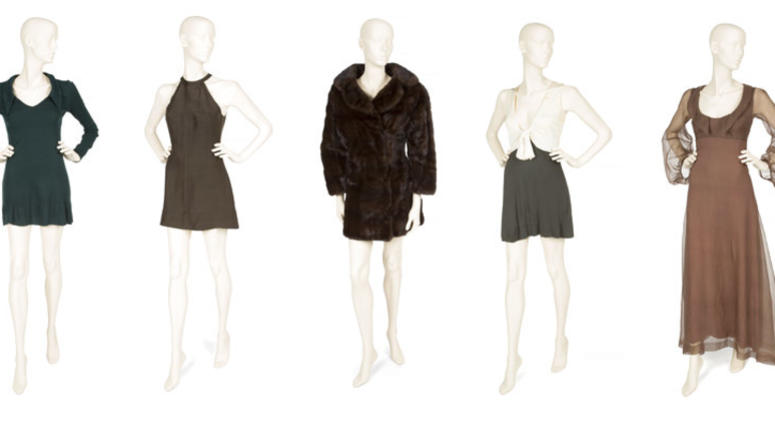 This combination photo shows various outfits owned by the late actress Sharon Tate which will be auctioned November 17 in Los Angeles and online by Julien's Auctions.