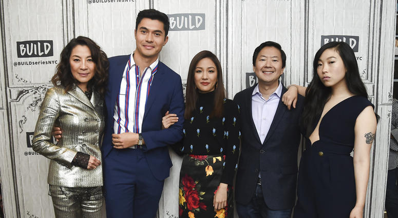 """In this Aug. 14, 2018, file photo, Actors Michelle Yeoh, from left, Henry Golding, Constance Wu, Ken Jeong and Awkwafina participate in the BUILD Speaker Series to discuss the film """"Crazy Rich Asians"""" at AOL Studios in New York."""