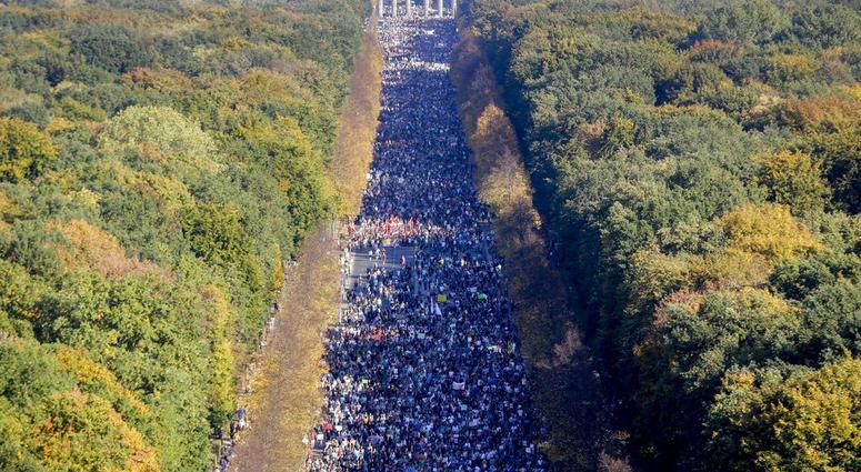 Thousands of people attend a demonstration with the slogan 'indivisible' against hate and four solidarity instead of exclusion in Berlin, Germany, Saturday, Oct. 13, 2018.