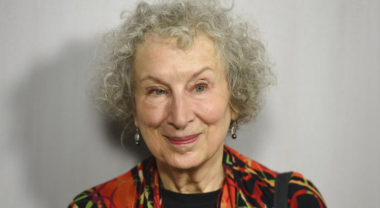 FILE - In this Oct. 14, 2018 file photo, Margaret Atwood arrives at the 16th Annual Hammer Museum Gala in the Garden in Los Angeles.