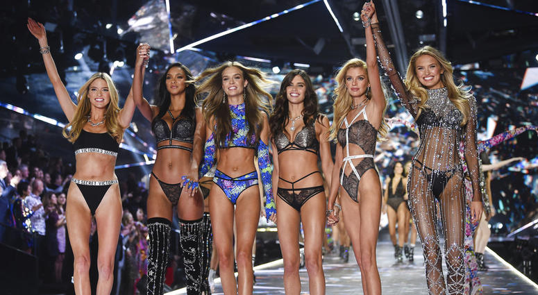 FILE - In this Nov. 8, 2018 file photo, models Martha Hunt, from left, Lais Ribeiro, Josephine Skriver, Sara Sampaio, Stella Maxwell and Romee Strijd walk the runway during the 2018 Victoria's Secret Fashion Show in New York.