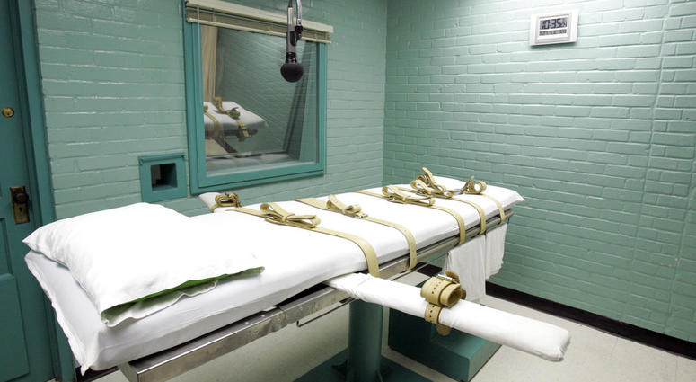 This May 27, 2008, file photo, shows the gurney in the death chamber in Huntsville, Texas.