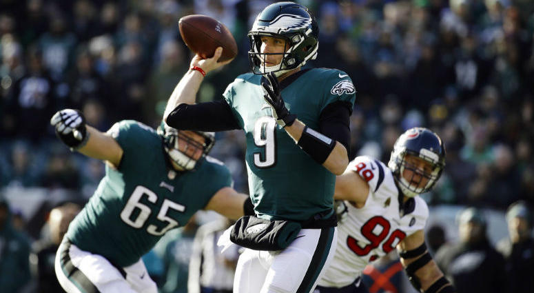 Philadelphia Eagles' Nick Foles passes during the first half of an NFL football game against the Houston Texans, Sunday, Dec. 23, 2018, in Philadelphia.