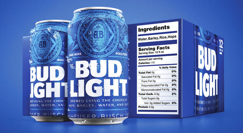 Bud Light nutrition label