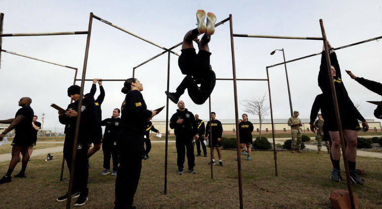 In this Jan. 8, 2019, photo, U.S Army troops training to serve as instructors participate in the new Army combat fitness test at the 108th Air Defense Artillery Brigade compound at Fort Bragg, N.C.