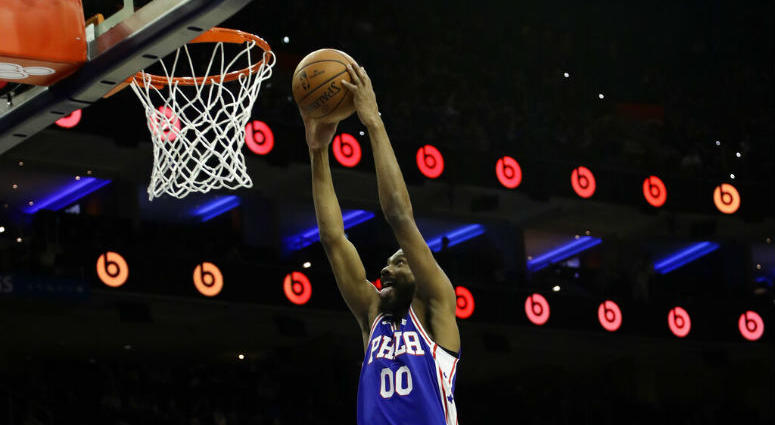 Philadelphia 76ers' Corey Brewer goes up for a dunk during the second half of an NBA basketball game against the Houston Rockets, Monday, Jan. 21, 2019, in Philadelphia.