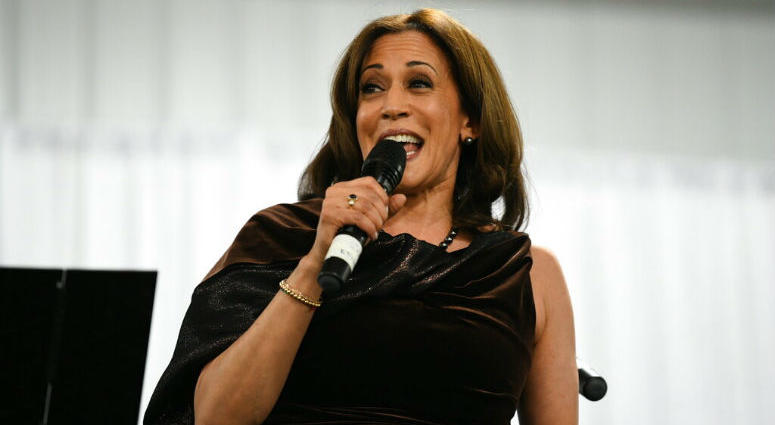 California Sen. Kamala Harris appears at a fundraiser for Alpha Kappa Alpha Sorority Inc., of which she is a member, Friday, Jan. 25, 2019 in Columbia, S.C.