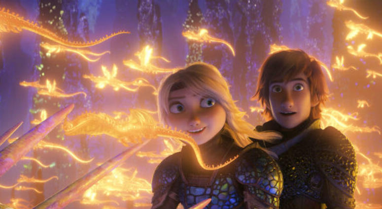 "This image released by Universal Pictures shows characters Astrid, voiced by America Ferrera, left, and Hiccup, voiced by Jay Baruchel, in a scene from DreamWorks Animation's ""How to Train Your Dragon: The Hidden World."""