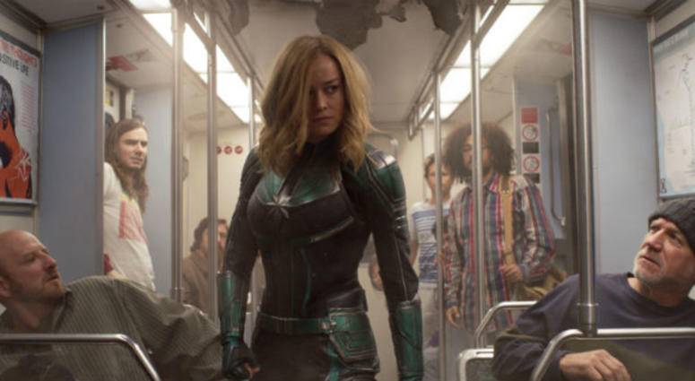 "This image released by Disney-Marvel Studios shows Brie Larson in a scene from ""Captain Marvel."""